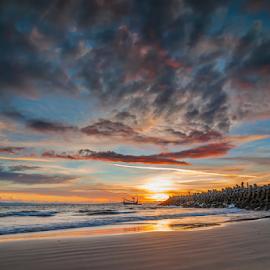 by Gus Mang Ming - Landscapes Sunsets & Sunrises ( dermaga, bali, red, blue, sunset, jembrana, yellow, pengambengan )