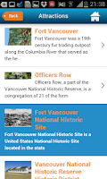 Screenshot of Vancouver guide, map, weather