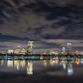 Boston Back Bay Skyline at night by Jeff Parkes - City,  Street & Park  Night ( skyline, reflection, boston, charles river, night lights, buildings, cityscape, massachusetts, back bay )