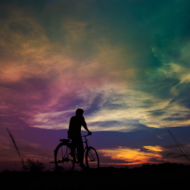 by Subir Majumdar - Transportation Bicycles ( bike, sunset, man )