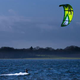 Kitesurfing by Michael B. Rasmussen - Sports & Fitness Watersports ( water, speed, ocean, fun, landscape, fjord, watersport, extremesport, kite surfing, cold, nature, surfing, wet )
