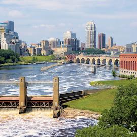 Minneapolis - River City by Dean Ramsay - City,  Street & Park  Skylines ( city scape, stone arch bridge, river city, mississippi river, minneapolis, bridge, city, river )
