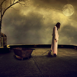 Terbelenggu by Sakura Art - Digital Art Things ( girl    oldhandcuff  moon     tree    sky     digital art  photomanipulation )