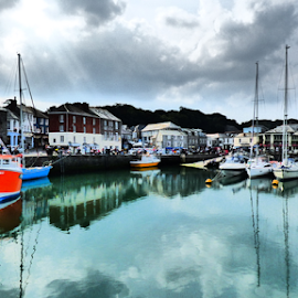 Padstow  Harbour by Ben Hobson - Digital Art Places ( water, padstow, boats, harbour, cornwall )