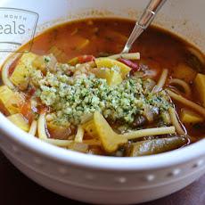 ... Vegetable Minestra With Orzo And Arugula Pesto Recipes — Dishmaps