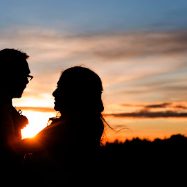 Into the sunset by Christina Messenger - Wedding Bride & Groom ( silhouette, sunset wedding, lethbridge wedding photographer, wedding photographer, sunset silhouette )