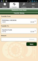 Screenshot of Waukesha State Bank Mobile