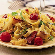 Roasted Cauliflower, Bacon & Chilli Pasta