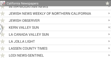 Screenshot of California newspapers
