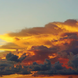 Large Bright and Dark Clouds by Bridgette Rodriguez - Landscapes Cloud Formations ( clouds, orange, skyline, morning glory, cloudscape, yellow, morning, skies, sky, nature, cloud, cloudy, weather, storms,  )