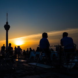 Enjoying sunset view by WengWai Chan - Landscapes Travel ( kl tower, kuala laumpur, sunset, helipad, malaysia )