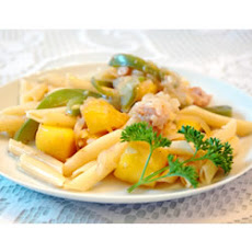 Chicken and Pasta in a Mango Cream Sauce