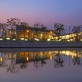 Reflection by Waraphorn Aphai - City,  Street & Park  Night ( park, lighting, pool, twilight, trees, reflections )