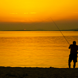 The suncatcher by Goran Kojadinovic - Digital Art People ( vacation, suncatcher, sunset, greece, sea, fisherman, sun )