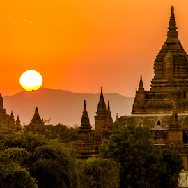 Sunset of Bagan by Khun Myo Than Htun - Landscapes Travel ( clouds, temples, sunset, trees, sun )
