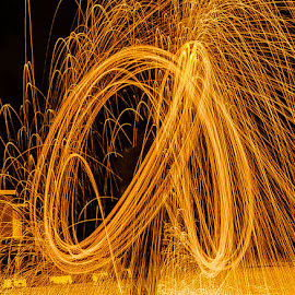 Double Spin by B.Thinesh Kumar - Abstract Light Painting ( abstract, steel wool, art, steelwool, fire,  )