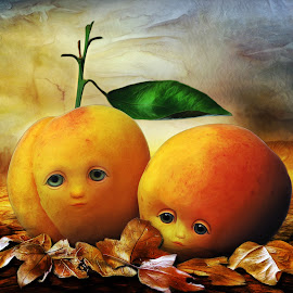Fallen by Angelica Glen - Digital Art Things ( faces, sad, fall, leaves, peaches )