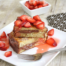 Chocolate Mascarpone Stuffed French Toast with Strawberry Topping