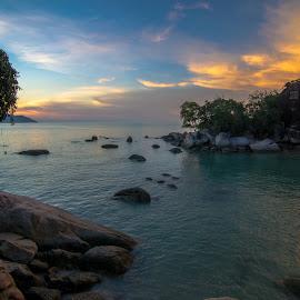 Sunset at Love Island by Chin Fei Ng - Landscapes Sunsets & Sunrises ( sunset; love island; stone; sea; sky )