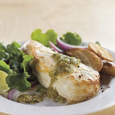 Halibut & Potatoes with Green Salsa