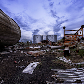 The Aftermath by Ferdinand Ludo - News & Events Weather & Storms ( mangled metals, debris, typhoon yolanda aftermath hitting a small factory, huge mess )