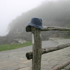 left behind by David Friar - Artistic Objects Clothing & Accessories ( hat on post, forgotten hat, left behind, lost hat, foghat )