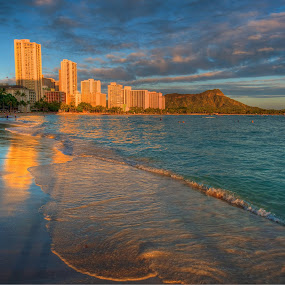 Waikiki Beach by Paul Atkinson - Landscapes Beaches ( water, sunset, honolulu, ocean, beach, oahu, hawaii, waikiki,  )
