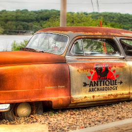 Old but New by Jeannie Meyer - Transportation Automobiles ( car, iowa, red, automobile, american pickers, le claire, brown, antique archeology, rust,  )