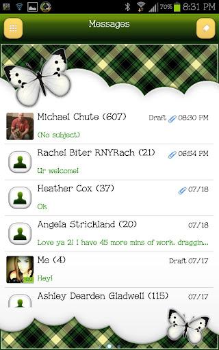 GO SMS - Forest Plaid Sky