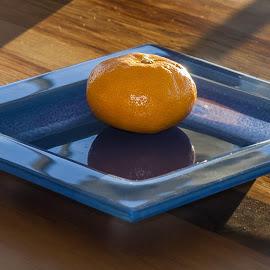 Orange on blue plate by Vibeke Friis - Food & Drink Plated Food ( orange, blue, plate, square, orange. color )