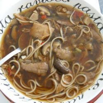 Beef, Noodle and Chinese Mushroom Soup