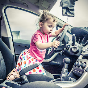 First ride by Bart Joosen - Babies & Children Toddlers ( ride, car, hdr, toddler, first, sien )