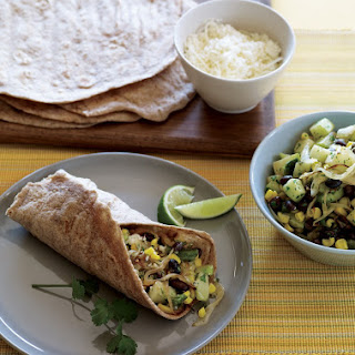 Corn, Chayote, and Green Chile Burritos