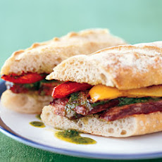 Grilled Steak Sandwiches with Chimichurri and Bell Peppers