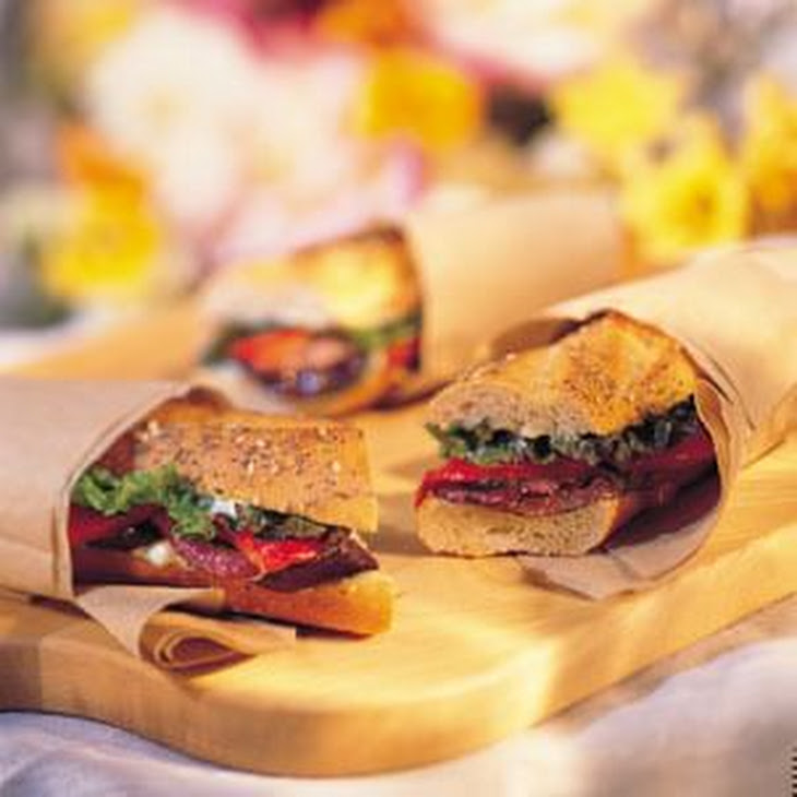 Grilled Eggplant, Red Onion and Pepper Sandwich with Basil Mayonnaise ...