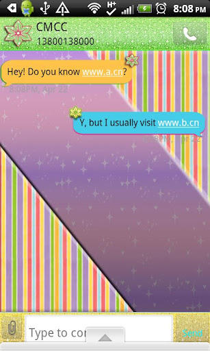 GO SMS THEME GlitterRainbow