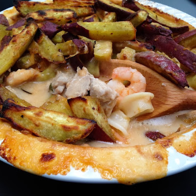 Californian Seafood Pie With Chunky Sweet Potato Fries Topping