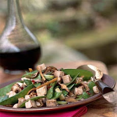 Stir-Fried Tofu, Shiitake Mushrooms, and Chinese Peas