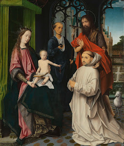 RIJKS: attributed to Jan Provoost: Virgin and Child Enthroned, with Saints Jerome and John the Baptist and a Carthusian Monk 1510
