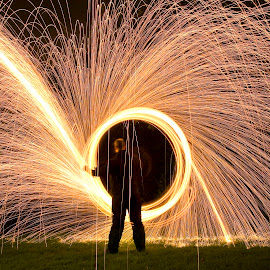 baptism of Fire by Eddy Maerten - Abstract Light Painting ( firefighter, firework, night shot )