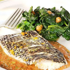Steamed Black Bass with Sicilian-Style Pesto