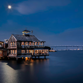 Seaport Village Meets Coronado Bridge by Clifford Swall - Buildings & Architecture Public & Historical ( water, night photography, hdr, buildings, reflections, seaport village, dusk, coronado bridge )