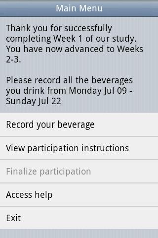 Beverage Diary