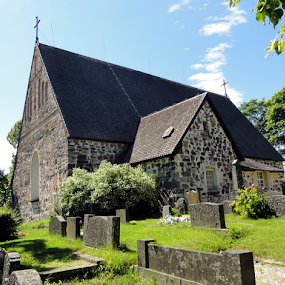 Nagu Church 2,Finland by Leif Holmberg - Buildings & Architecture Places of Worship ( church, finland, nagu, leif holmberg, graveyard,  )