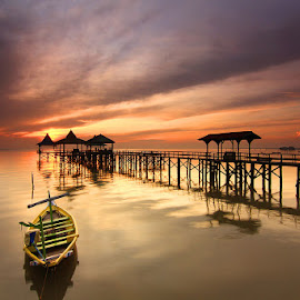..Morning @ Kenjie.. by Widjoto Chandra - Buildings & Architecture Bridges & Suspended Structures ( beach, sunrise, landscape )