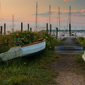 by Dayton Brown - Transportation Boats ( peaceful, ocean, sunrise, sailboat )