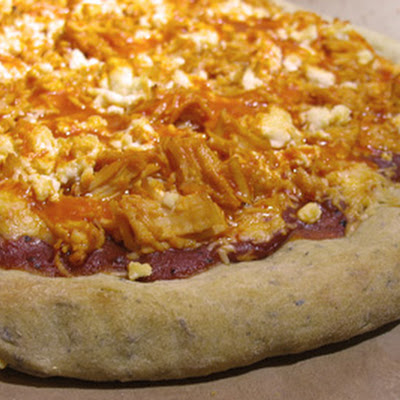 Buffalo Chicken Pizza with Soy and Goat Cheese