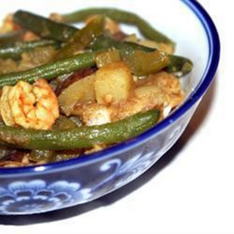 Trinidad-Style Curried Potatoes with Green Beans and Prawns