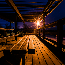 Night Watch by Bob Grandpre - City,  Street & Park  Night ( starburst, wood, bench, farm island, state park, night, table, light, shadows,  )