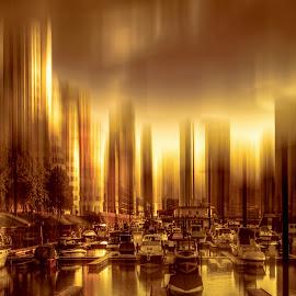 Golden Dusseldorf by Stefan Kierek - Digital Art Places ( düsseldorf, dusseldorf, gold, medienhafen, motion blur )